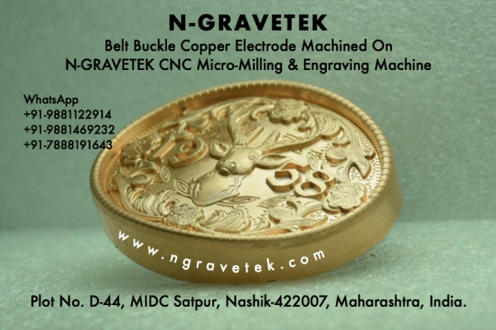 Belt Buckle Copper Electrode Micro Milling Engraving Done On CNC Engraving Machine