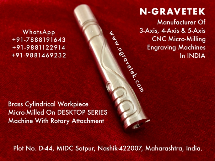 Brass Cylindrical Workpiece Micro Milling Engraving Done On CNC Desktop Engraver
