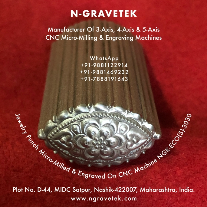 Jewelry Emboss Punch Micro Milling Engraving Done On CNC Engraving Machine