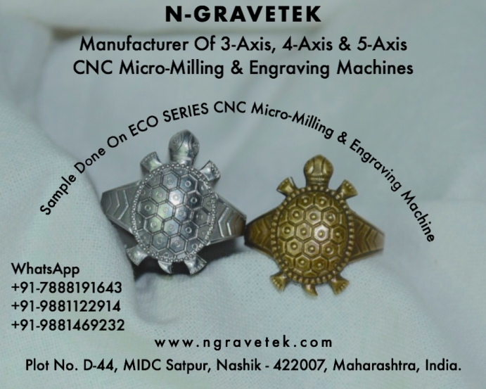 Kachua Anguthi Ring Jewelry Punch Micro Milling Engraving Done On CNC Engraving Machine